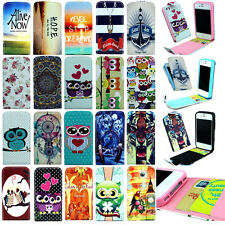 Cute Cartoon Up-Down Open Magnetic Flip Case Cover w/ Card Holder For iPhone