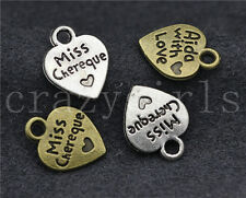 60/150pcs Zinc alloy Jewelry Finding Heart letter Charm Pendant 12x10mm
