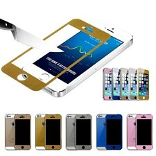 Color Mirror Effect Tempered Glass Screen Protector iPhone 5 5S 5c front & back