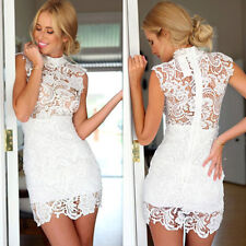 New Sexy Women Lace Hollow Embroider Sleeveless Cocktail Evening Mini Dress
