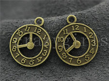 20/50pcs Zinc alloy two-sided clock Jewelry Finding Charm Pendant 21x18mm