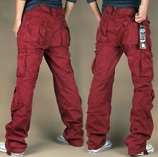 Mens Military colors Cargo Pocket Pants overall loose Leisure Trousers Outdoor