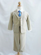 Baby toddler teen Khaki/Taupe/Ivory wedding party boy formal suit color long tie