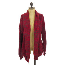 COTTON EMPORIUM OVERSIZED CARDIGAN RED MARLED HEATHER SWEATER TOP M L B20