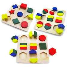 Kids Maths Geometry Wooden Puzzle Blocks Preschool Educational Game Toy IDXX