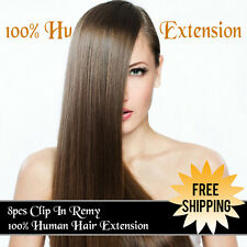 100% Real Human Hair Full Head Clip in Remy Hair Extensions Factory Direct Sales