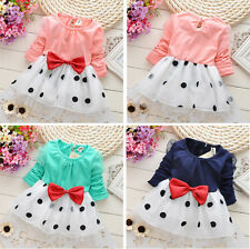 1pc Girl Kids Baby Pretty Bowknot Top Polka Dot Dress Tutu Clothing 0-42M