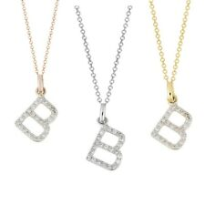 Diamond Initial Necklace 14K Real gold B diamond initial pendant charm 0.12 ct