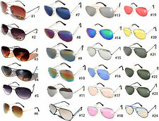 SILVER GOLD GUN AVIATOR PILOT STYLE METAL FRAME SUNGLASSES SHADES UV400