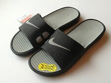 Nike 431884-020 Mens Benassi Solarsoft Slide Sandals Black / Silver All Size