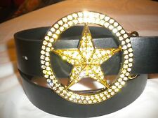 BRAND NEW MENS BUCKLE WITH A  GOLDSTAR  AND CLEAR STONES LEATHERBLACK  BELT