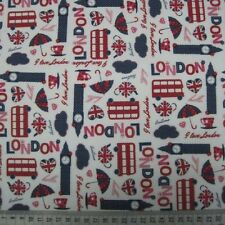 White London Patriotic Themed Print Cotton Blend Craft Fabric