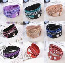 New Women Fashion Jewelry Crystal 2wrap Around PU Leather Adjustable Bracelet