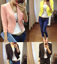 HOT 2015 New Womens None Button Tunic Foldable Sleeve Blazer Coat  Short Suit