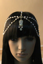 VINTAGE DECO 20s FLAPPER IVORY PEARL HEADBAND GREAT GATSBY WEDDING