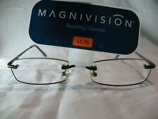 Magnivision Kristin Brown Womens Rimless Reading Glasses +1.50 1.75 2.25 2.75