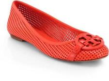 Tory Burch AADEN Perforated Leather Logo Ballet Ballerina Flat Shoes $250