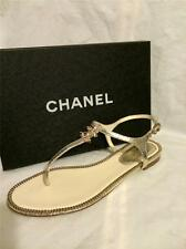 CHANEL 2014 14P Crackle Leather Jewel CC Logo Flat Thong Sandal Shoes Gold $1025