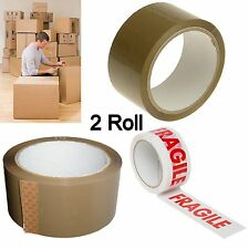 Two(2) Roll High Quality Parcel Packing Tape - 48mm x 66m - Brown Or Fragile
