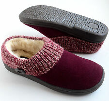 Clarks Womens Genuine Leather Knit Cuff Slippers Size 8M Burgundy
