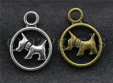 20pcs Antique Silver/Bronze dog Fit DIY Jewelry Making Charm Pendant 19x14mm