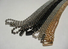 Gold,Black,GunMetal,Nickel,Steel Military Ball Bead Dog Tag Chain Necklace 2.4mm