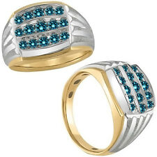 1.1 Carat Blue Diamond 3 Lines Cluster Mens Ring 14K White Yellow Two Tone Gold