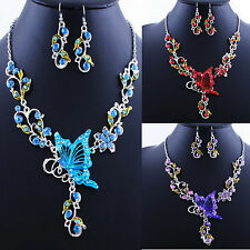 Great Vogue Butterfly Flower Rhinestone Pendants Necklace Earrings Jewelry Sets