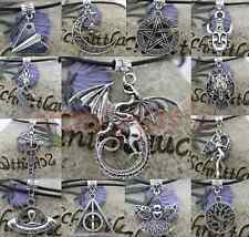 Antique silver Leather Cord Choker Necklace Charm Pagan Wicca Gothic best gift