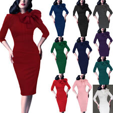 Women Celebrity Vintage Pinup Retro Bow Cocktail Party Evening Bodycon Dress 142