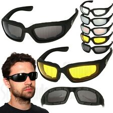 2 PAIR COMBO Chopper Padded Wind Resistant Sunglasses Motorcycle Riding Glasses