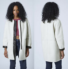Topshop Faux Shearling Teddy Fur Ovoid Cocoon Coat Jacket Oversize 6 8 10 12 14