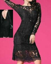 NEW WOMENS LONG SLEEVE BLACK FLORAL LACE W/LINING SHORT SEXY DRESS--M,L 6761