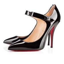 Christian Louboutin NEO PENSEE 120 Patent Mary Jane Heel Pumps Shoes Black $725