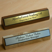 Premium Executive Hard Wood Personalised Desk Name Plate, Plaque, Sign, Engraved
