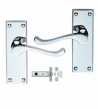 Polished Chrome Lever Door Handles Handles With Latch Sets Victorian Scroll