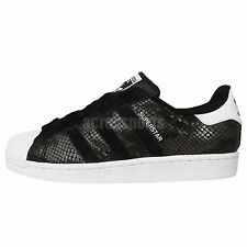 Adidas Originals Superstar W Black Crocodile Snake Womens Casual Shoes Sneakers