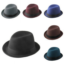 Classic Unisex Felt Fedora Trilby Hat Upturned Brim Black Ribbon Band 6 Colors