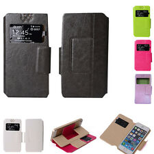 Universal PU Leather Soft Wallet Case Slim View Windows Phone Flip Cover