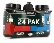 Gold Standard Whey & Casein proteins & shaker cup stack,Optimum Nutrition 24 pak
