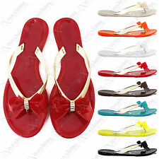 WOMENS NEW TOE POST BOW DIAMANTE JELLY FLIP FLOP SUMMER FLAT THONG SANDAL SHOES