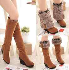 Newest Women's knee high boots Leather Suede Fur Lined warm snow boots