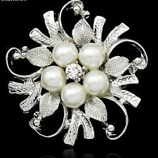 Bridal Bouquet  Rhinestone Crystal brooch pin silver pearl brooches women C