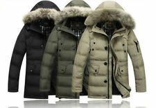 Mens Winter Down Coats With Fur Hooded Outwear Parka Jackets size L-XXXXL