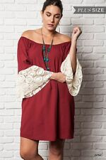 Umgee Plus Size Red Maroon Cotton Bell Sleeve Tunic Shift Dress SZ XL 1X 2X