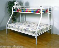 Twin Over Full Metal Bunk Bed Kids Furniture Bedroom Beds with Ladder White NEW