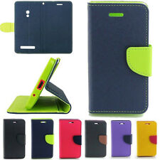 Luxury Dual Color Wallet Leather Flip + TPU Case Cover For ASUS Zenfone 4 5 6