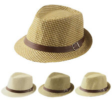Kids Children Summer Sunhat Plaided Straw Hat Fedora Trilby Cap Leather Band New