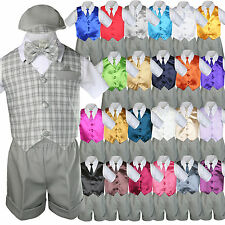 Baby Boy Toddler Formal Silver Vest Gray Shorts Suit Extra Necktie 7pc Set S-4T