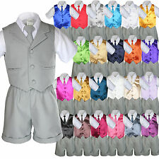 Baby Boy Toddler Formal Vest Shorts Gray 6 Piece Set Suit Necktie 23 Color S-4T